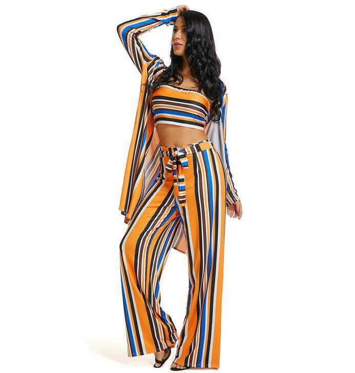 2019 Womens Fashion Stripe 3 Piece Outfits Off Shoulder Crop Tops Wide leg pants