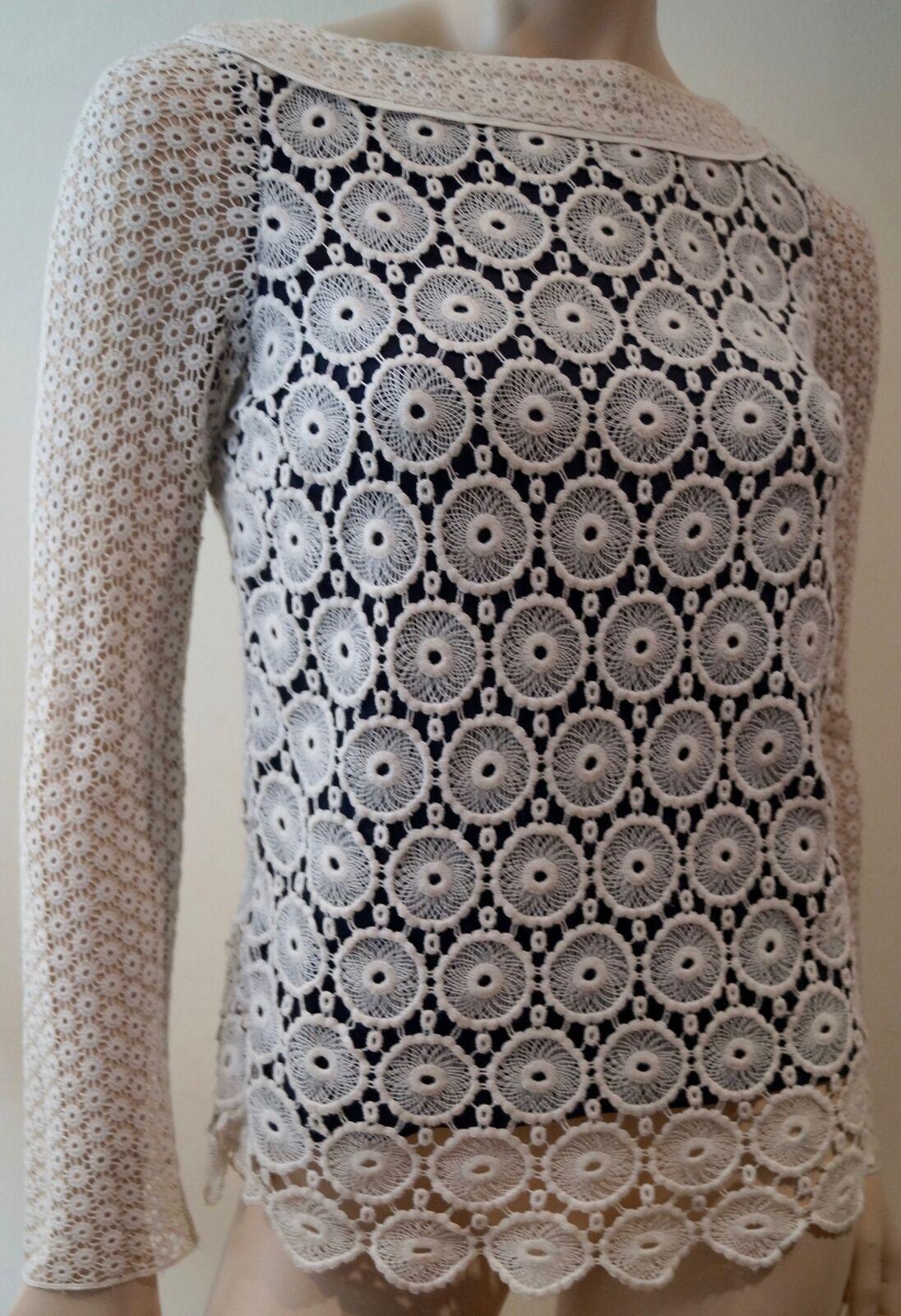 TORY BURCH schwarz Cream Crochet Cotton & Silk Round Neck Long Sleeve Top 2 UK6