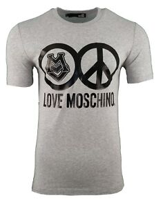 cec9b310 Image is loading LOVE-MOSCHINO-PEACE-LOGO-PRINT-T-SHIRT-GREY-