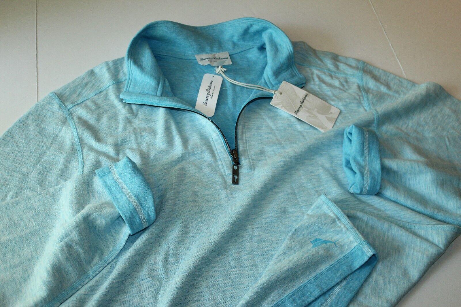 Tommy Bahama Sweater Half Zip Sea Glass Reversible Breeze Blau Extra Large XL