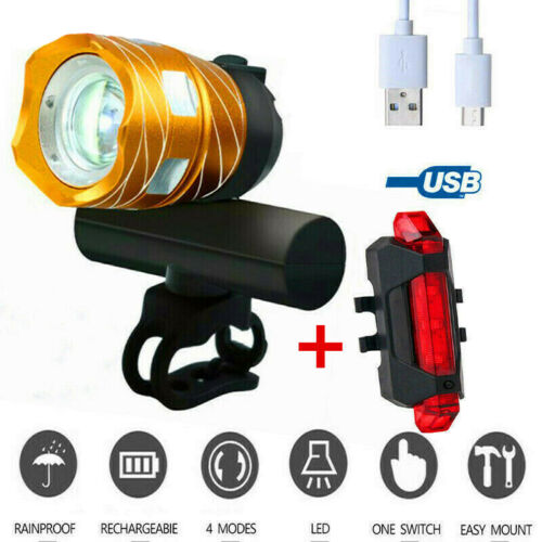 T6 LED Bicycle Bike Front Rear Headlight Light USB Rechargeable Lamp 15000LM