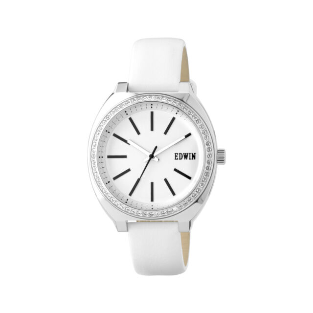 32b02132 Edwin ERA Women's 3 Hand Watch, Stainless Steel Case with White Leather Band