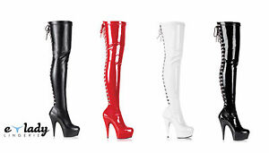 Pleaser-Delight-3063-Over-The-Knee-Thigh-High-Boots-Platform-Heels-Lace-Up-Zip