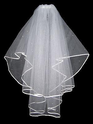 """Amichevole 2 Livello Avorio Da Sposa Velo Nuziale Con Diamanti Cristalli & Pettine 36"""" Di Alta Qualità- Eccellente Nell'Effetto Cuscino"""