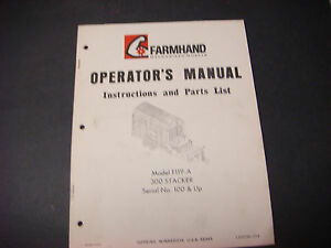 Farmhand Operators Manual,Instructions/Parts List,F119-A ...
