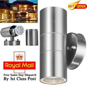 4X-Stainless-Steel-Up-Down-Wall-Light-GU10-IP44-Double-Outdoor-Wall-Light-New-Uk