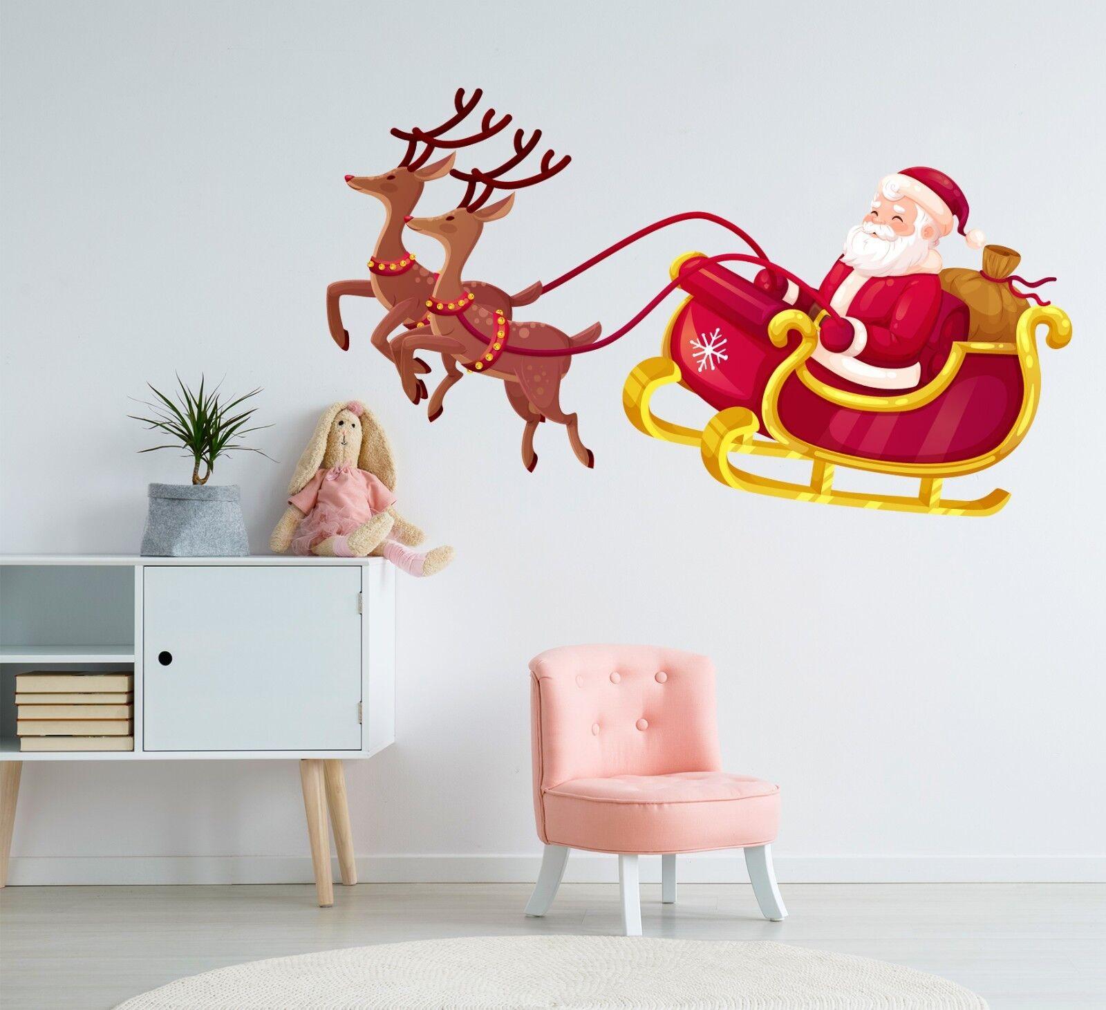 3D Christmas Xmas Deer Car 2 Wallpaper Mural Floor Wall Print Decal Wall Sticker