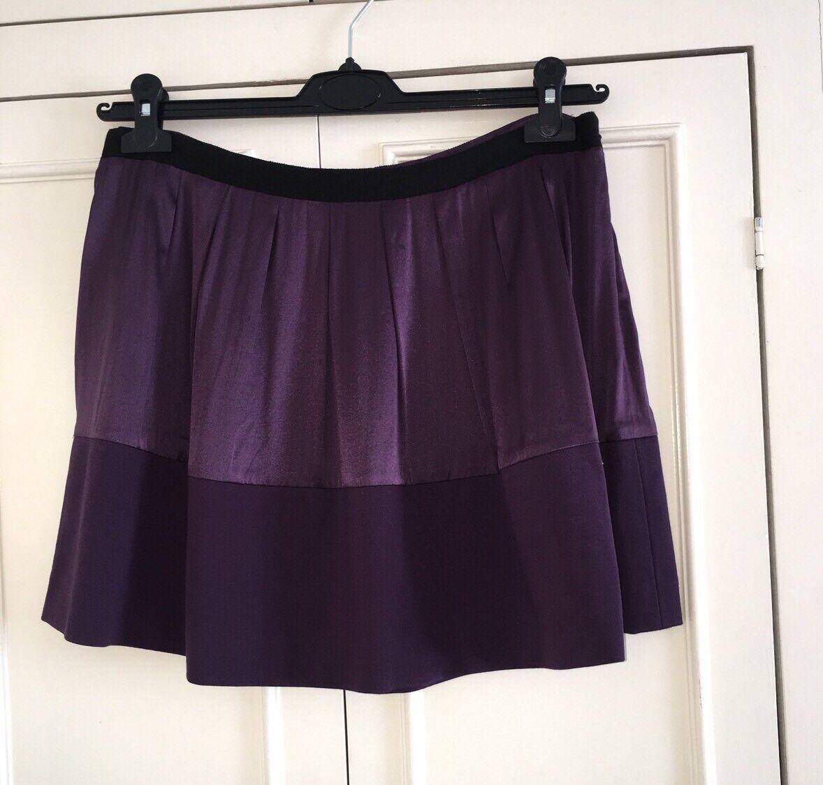 Theory Purple Silk Skirt Size 12Uk
