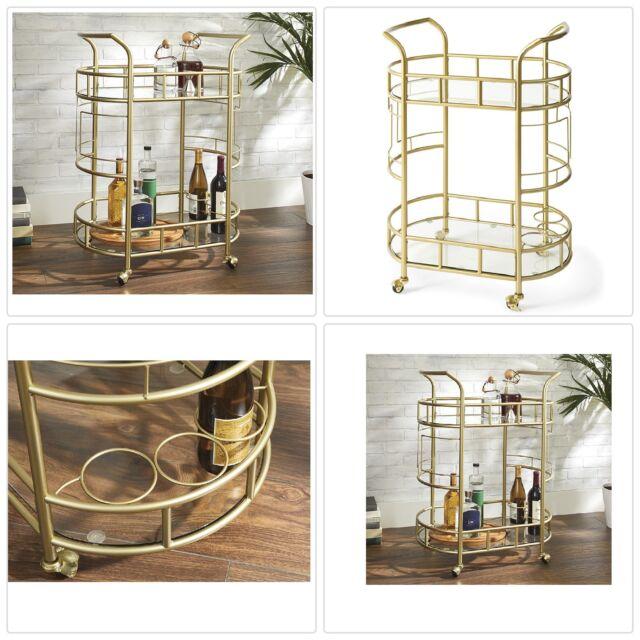 Gold Metal Glass 2-Tier Cocktail Serving Bar Wine Liquor Storage Display  Cart
