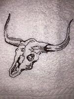 Embroidered Kitchen Hand Towel & Wash Cloth Set H0158 Western Steer Skull