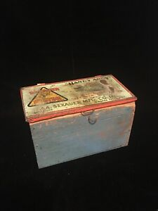 Antique-Wood-Tool-Box-Old-Blue-Paint-w-Old-Handy-Andy-Sexuer-System-Ad