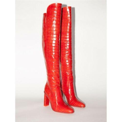 New Women/'s Crocodile Printed Over The Knee Boots Long Zip Up Block Heels Shoes