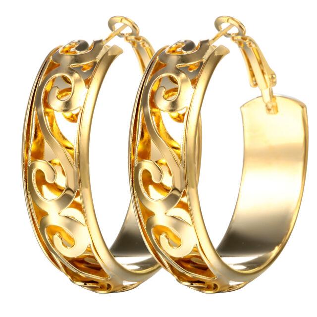 Women 14k Yellow Gold Plated Bridal Dangle Drop Hollow Hoop Earrings Jewelry