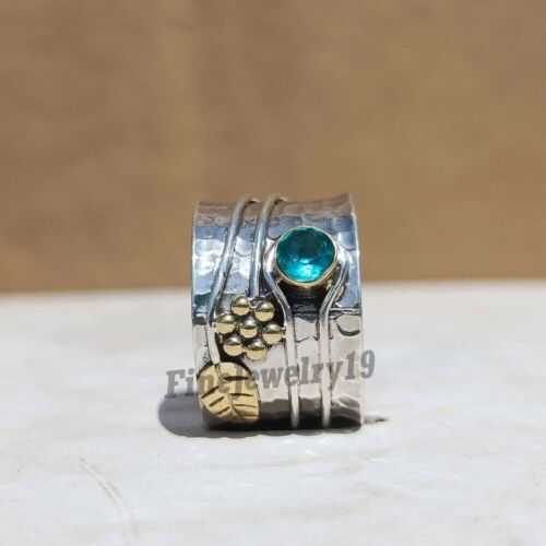 Blue Topaze Ring 925 Sterling Silver Band Ring Statement Bague Handmade Ring Z36