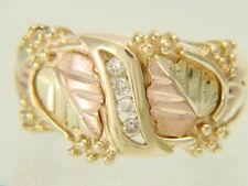 10K Black Hills Gold Tri-Color Coleman Co Wide Band Diamond Wedding Ring