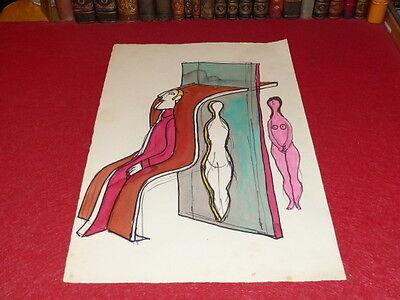 Beautiful Drawing Original1970 Felt Watercolour Surrealism Pop Art Drawings Art