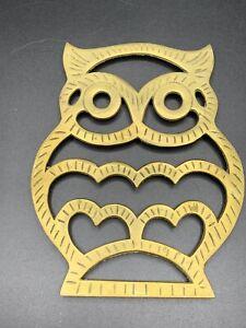 Vintage-Brass-Trivet-Owl-Decor-Plate-Stand-Hot-Plate-Interpur-Korea