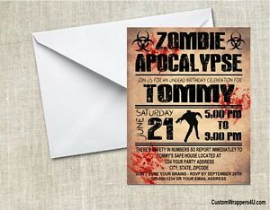 Zombie birthday party invitations personalized custom ebay image is loading zombie birthday party invitations personalized custom stopboris Gallery