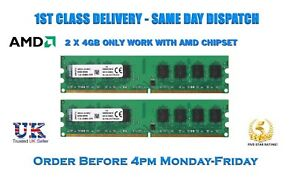 Kingston-8GB-2x4GB-DDR2-800MHz-240PIN-PC2-6400-CPU-AMD-Scheda-Madre-Memoria-Ram