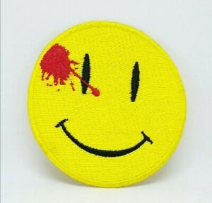 Watchmen-Dead-Smiley-Face-Embroidered-Iron-on-Sew-on-Patch-j171