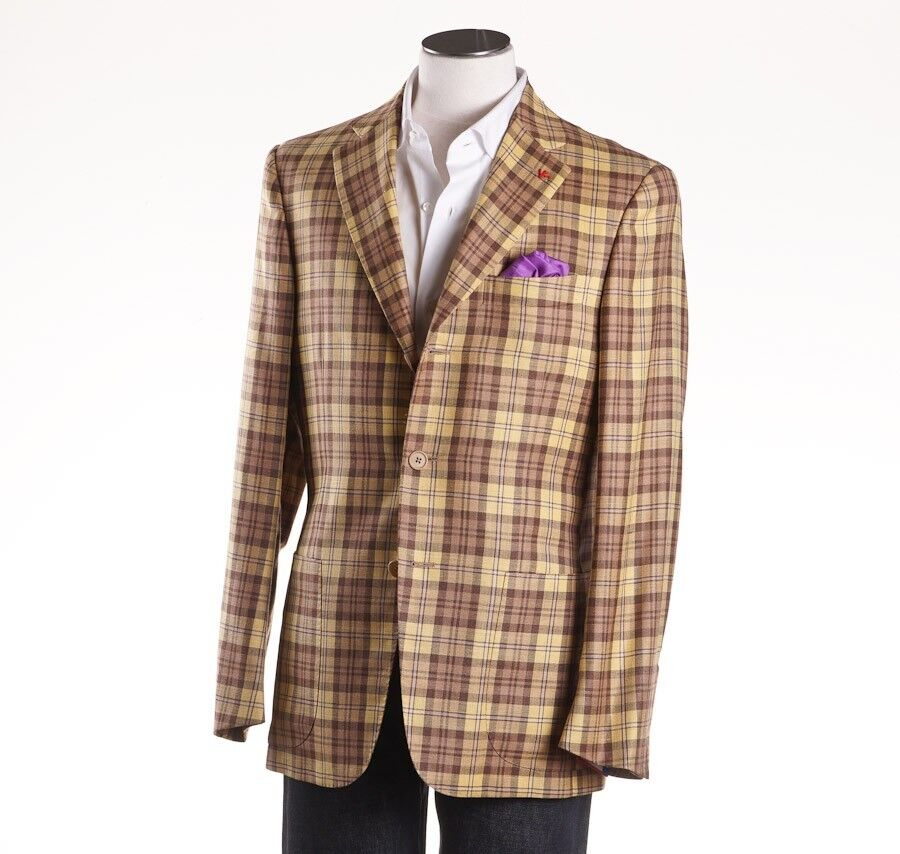 NWT  ISAIA Lightweight Tartan Plaid Wool-Linen-Silk Sport Coat 42 R (Eu 52)