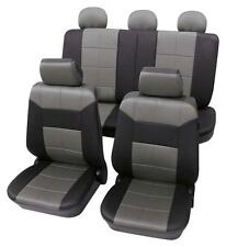 Grey & Black Leather Look Seat Cover set - For Honda Civic 2005 Onwards