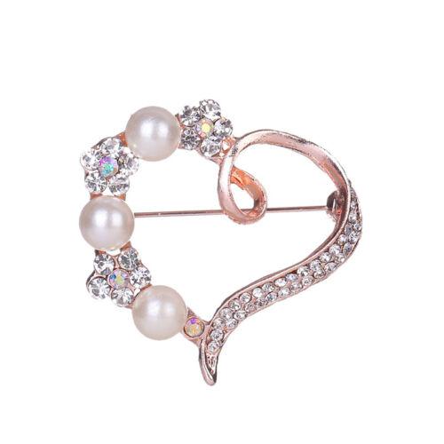 Hollow Love Heart Shape Imitation Pearl Rhinestone Opal Brooch for Party one