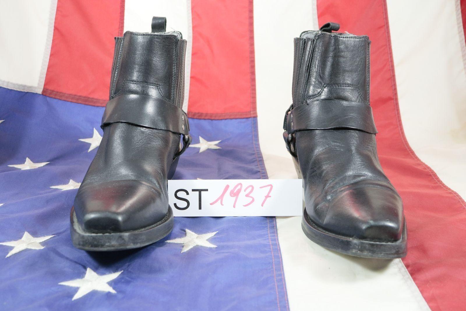 botas (COD. St1937) usado N Para Hombre De Cuero Negro Vaquero País Bikers el