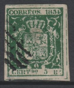 Spain-1854-5r-Deep-Green-stamp-Used-SG-37a