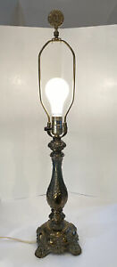 Vintage Ornate Cambridge Cast Metal Table Lamp With Harp And Finial tested works