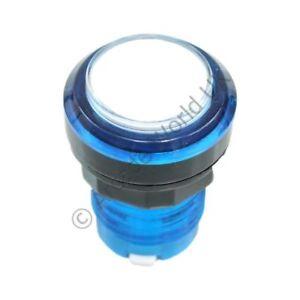 Diplomatique Bleu Translucide Arcade Bouton Avec Clear Lens Cap & 12 V Del & Microswitch-afficher Le Titre D'origine