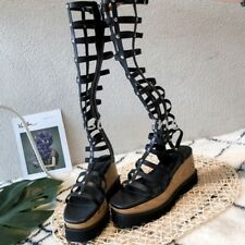 d6761ddea item 5 Women Wedge Heel Strappy Gladiator Knee High Cut Out Sandals Boots  Casual Shoes -Women Wedge Heel Strappy Gladiator Knee High Cut Out Sandals  Boots ...
