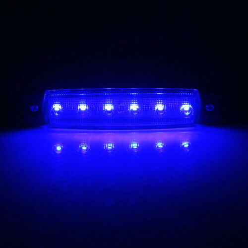 12V Blue 6 LED Side Marker Light Indicator Lamp Truck Trailer Car Signal Light