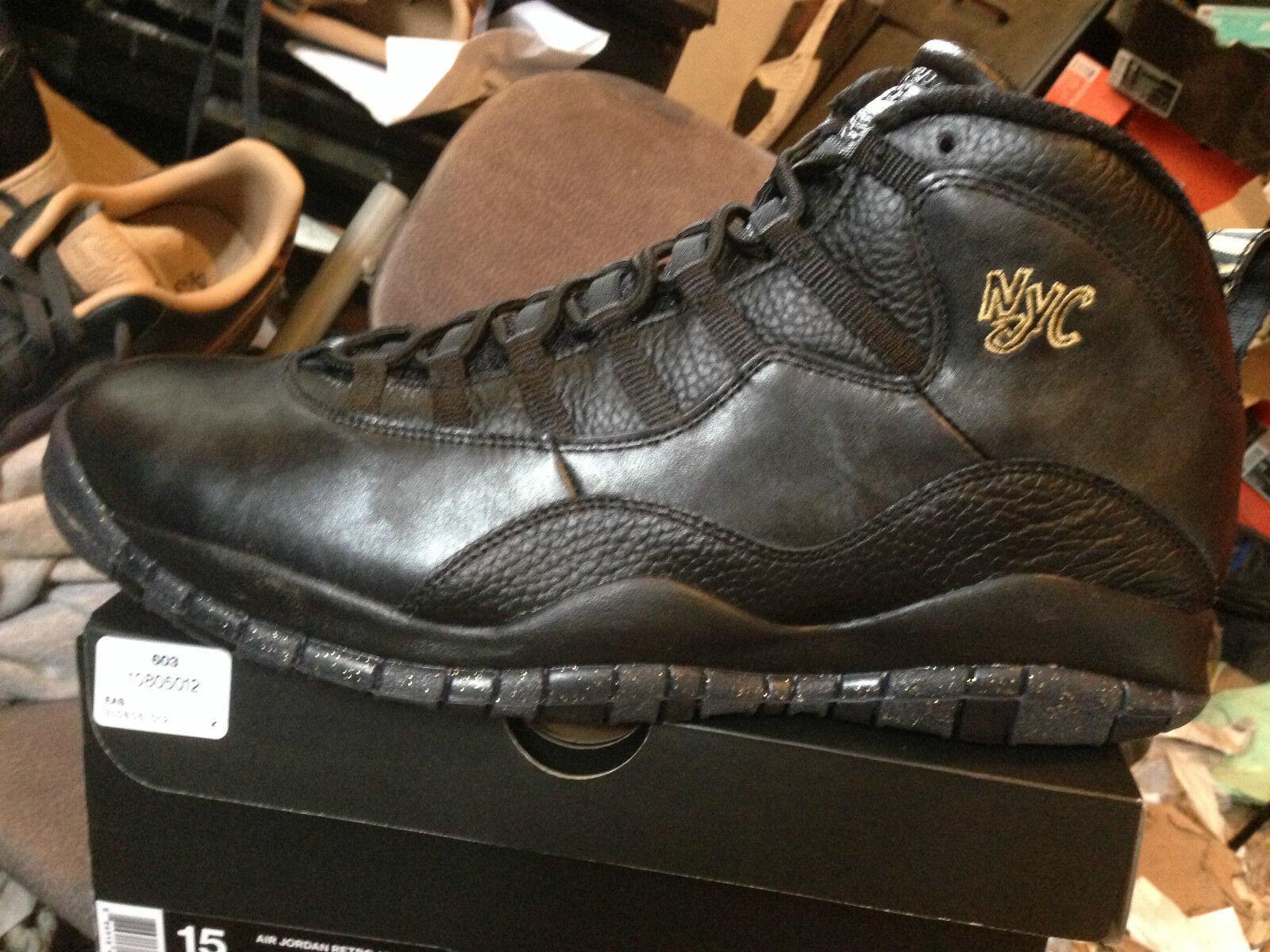 Nike air jordan retrò 10 new york bnib blk / blk / gry numero 15