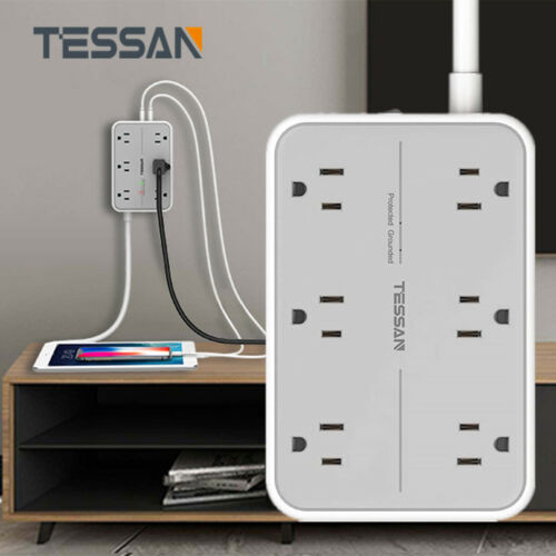 Wall Mountable 6-Outlet Surge Protector Power Strip with 3 USB Ports /& 5 FT Cord