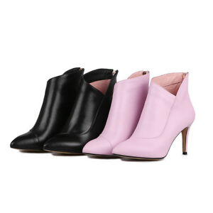 Ladies-Party-Shoes-Genuine-Leather-High-Heels-Pumps-Zip-Ankle-Boots-AU-Size-b105