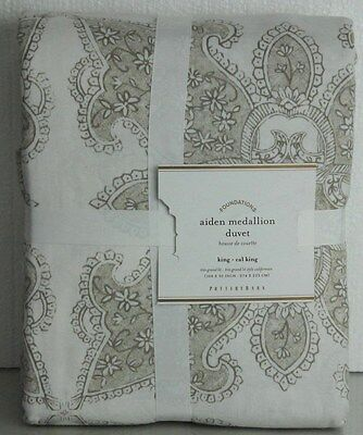 New Pottery Barn Aiden Medallion Neutral King Duvet Cover