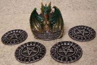 Drink Coaster Set of 4 Mythical Celtic Green Dragon Holder NIB