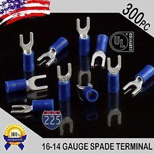 300 Pack 16 14 Gauge Vinyl Spade Fork Crimp Terminals 8 Stud Tin Copper Core Ul