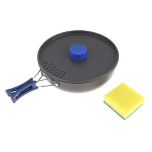 1PC Portable Camping Foldable Handle Frying Pan Lightweight Non-stick Pot