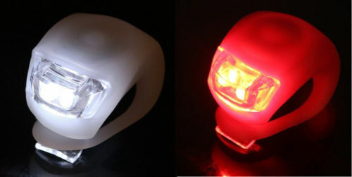 Ultra Bright Waterproof SILICON LED BIKE LIGHT SET 2LED Front Rear Safety Light