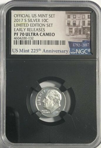 2017 S PROOF SILVER ROOSEVELT DIME LIMITED EDITION SET NGC PF70 ULTRA CAMEO RETR