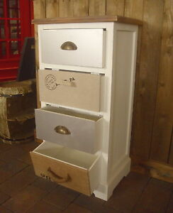 kommode 4 verschiedene schubladen shabby chic antik stil schrank 81cm weiss neu ebay. Black Bedroom Furniture Sets. Home Design Ideas