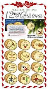TWELVE-DAYS-OF-CHRISTMAS-24K-Gold-Plated-JFK-Half-Dollars-12-Coin-Set-Ornaments