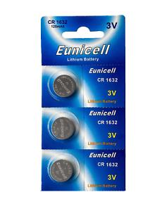 3-x-CR1632-3V-Lithium-Batterie-120-mAh-1-Blistercard-a-3-Batterien-Eunicell