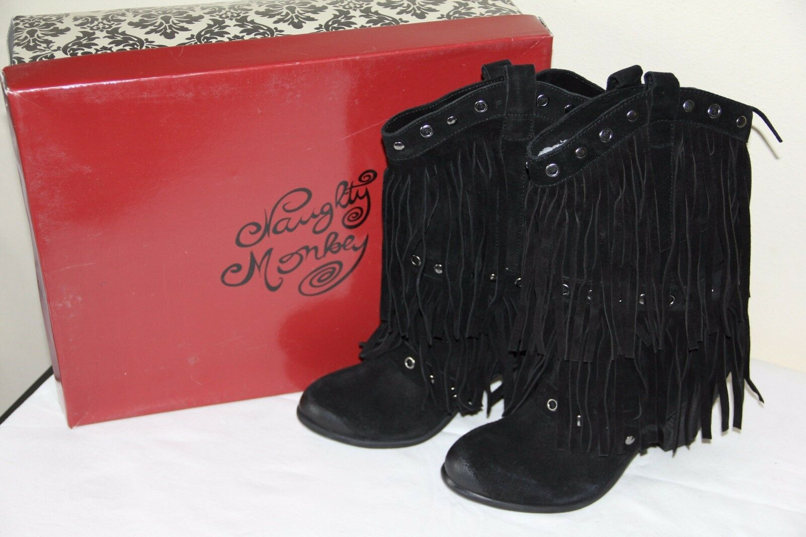 NEW Naughty Naughty Naughty Monkey KICKIN IT Womens Black Suede Winter High Boots Fashion shoes f32ccf
