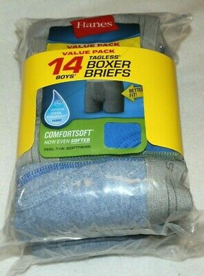 2 7 Packs Blue Gray New Boys size Small 6-8 Hanes Boxer Briefs 14 ComfortSoft