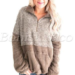 Women-039-s-Long-Sleeve-Zip-Sweatshirt-Fleece-Pullover-Pockets-Outwear-Warm-Fur-Coat