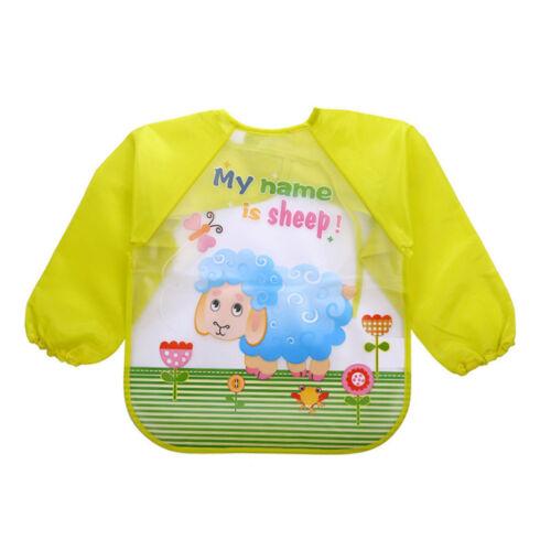 Infant Baby Waterproof Long Sleeve Bibs Apron Cartoon Feeding Smock for 1-3 Y