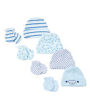 Sweet and Soft Baby Boy 4-Pack Hat and Mittens Set